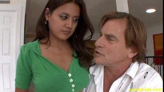 Bad step father fucks tight pussy his beauty brunette daughter