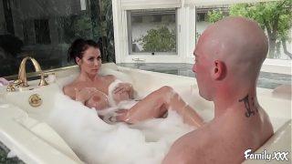 Big Tits Stepmom Reagan Foxx Fucks Her Stepson In The Bathtub