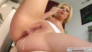 Blonde's holes penetrated and cum filled