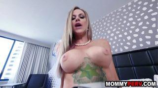 Blonde Mature mom seducing son into sex