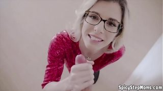 Geeky blonde stepmother POV blowjob with lucky stepson