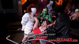 taboo halloween horny sister fucked hard by her brother and friends