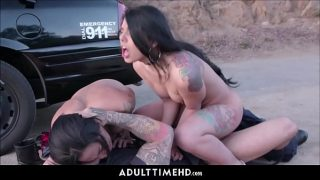 Two Cute Teenagers Fucked By Real Police Officer Outdoors After Caught Tagging Pov